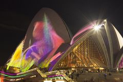 SYDNEY, AUSTRALIA - JUNE 1, 2018 - Projections on the Sydney Opera House during Vivid Sydney. Vivid Sydney is an annual outdoor. Lighting festival featuring stock photography