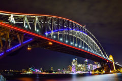 SYDNEY, AUSTRALIA - JUNE 5, 2015; Sydney Harbour Bridge and Ope. Ra House illuminated with colourful light design imagery, during the Vivid Sydney 2015 annual Royalty Free Stock Photos