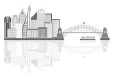Sydney Australia linii horyzontu Grayscale wektoru ilustracja Fotografia Stock