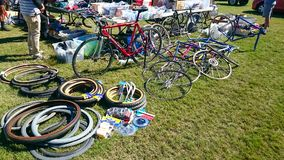 Bicycle spare parts for sale at Canterbury Velodrome in the annual event of bicycle Classic Bicycle show. royalty free stock images