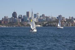 Sydney, Australia-March 13th 2013:: Yachts sailing in Sydney Har Royalty Free Stock Photography