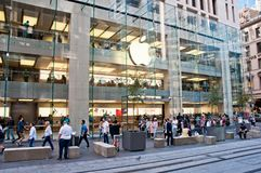 SYDNEY, AUSTRALIA - MAY 5, 2018: Apple store with a big white ap royalty free stock photography