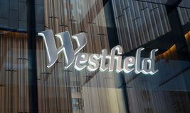 Close-up detail of Westfield Sydney shopping centre logo stock images
