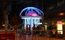 Vivid Sydney is a free annual event of lights. Sydney Australia - May 25, 2018. Crank Zappa is a hot tempered electric jellyfish who will zazzle and zap you with stock images
