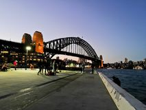 SYDNEY, AUSTRALIA - MAY 5, 2018: Sydney Harbour Bridge, which is. A landmark near the famous Sydney Opera House in the evening royalty free stock photo