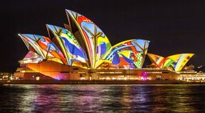 SYDNEY, AUSTRALIA - MAY 27,2016 : The Sydney Opera House sails l. Ights up during Vivid 2016: A colorful design projected Festival of Light, Music & Ideas in royalty free stock photography