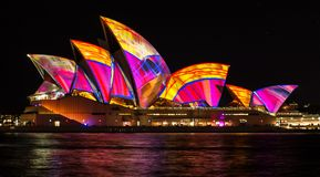 SYDNEY, AUSTRALIA - MAY 27,2016 : The Sydney Opera House sails l. Ights up during Vivid 2016: A colorful design projected Festival of Light, Music & Ideas in stock photo