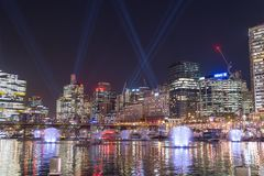 SYDNEY, AUSTRALIA - MAY 25, 2018; Vivid Sydney Annual Festival of light. Vivid Sydney Annual Festival of light. Spectacular water and light show in Darling stock photo