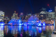 SYDNEY, AUSTRALIA - MAY 25, 2018; Vivid Sydney Annual Festival of light. Vivid Sydney Annual Festival of light. Spectacular water and light show in Darling royalty free stock photo