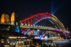 Sydney Harbour Bridge dressed up for Vivid Festival. Sydney, Australia -May 25, 2018: Vivid Sydney Festival in Sydney Harbour, Australia. Close up to Sydney Royalty Free Stock Photos