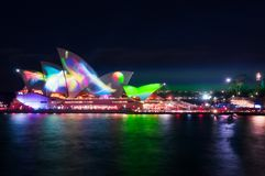 Vivid Light Show at The Opera. Sydney, Australia -May 25, 2018: Vivid Sydney Festival in Sydney Harbour, Australia. For the 10th year Anniversary the sails of Royalty Free Stock Photography