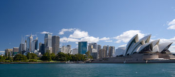Sydney Australia miasta linii horyzontu opera i wieżowowie Zdjęcie Stock