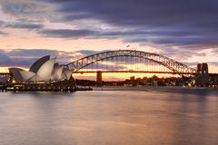 Sydney Australia no por do sol Fotos de Stock Royalty Free