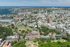 SYDNEY, AUSTRALIA - NOVEMBER 17, 2014: Cityscape of Sydney from Westfield Tower. Hyde Park, St Mary's Cathedral Stock Images