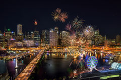 SYDNEY, AUSTRALIA - November 12, 2016 : Fireworks at Darling Harbour, adjacent to the city center of Sydney and also a recreation. Al place in Sydney central stock image