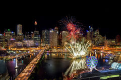 SYDNEY, AUSTRALIA - November 12, 2016 : Fireworks at Darling Harbour, adjacent to the city center of Sydney and also a recreation. Al place in Sydney central royalty free stock image