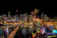 SYDNEY, AUSTRALIA - November 12, 2016 : Fireworks at Darling Harbour, adjacent to the city center of Sydney and also a recreation. Al place in Sydney central stock photography