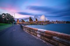Sydney, australia - november 9, 2018: footpath to the sydney opera house at sunset. Sydney, australia - november 9, 2018: footpath to the sydney opera house with royalty free stock image