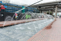 SYDNEY, AUSTRALIA - NOVEMBER 10, 2014: Fountain in Daling Harbour, Sydney. Australia. Royalty Free Stock Photo