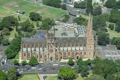 SYDNEY, AUSTRALIA - NOVEMBER 17, 2014: Hyde park in Sydney from Westfield Tower. St Mary's Cathedral Royalty Free Stock Photos