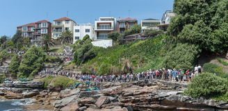 SYDNEY, AUSTRALIA - NOVEMBER 07, 2014: Path way by the Bondi Beach in Sydney, Australia. People Line. Path way by the Bondi Beach in Sydney, Australia. People Stock Image