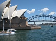 SYDNEY OPERA HOUSE, SYDNEY, AUSTRALIA - NOVEMBER 15: Side view of Sydney Opera House & Sydney Harbor bridge stock, photo, photogra. SYDNEY OPERA HOUSE, SYDNEY stock photos