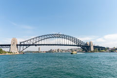 SYDNEY, AUSTRALIA - NOVEMBER 05, 2014: Sydney Architecture and Harbour Bridge with ferry. Wide Angle. Royalty Free Stock Photos