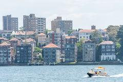 SYDNEY, AUSTRALIA - NOVEMBER 05, 2014: Sydney Architecture. Harbour with Ferry. Royalty Free Stock Photos
