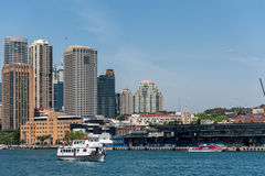 SYDNEY, AUSTRALIA - NOVEMBER 05, 2014: Sydney Business Architecture. Harbour with Ferry. The Rocks. Sydney Business Architecture. Harbour with Ferry. The Rocks stock photography