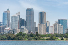 SYDNEY, AUSTRALIA - NOVEMBER 05, 2014: Sydney Business District with Royal Botanic Garden and River Water. Stock Image