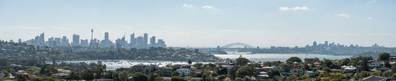 SYDNEY, AUSTRALIA - NOVEMBER 18, 2014: Sydney Harbour and Opera House. Cityscape. Darling Point, Point Piper, Harbour Bridge, pano Stock Photography