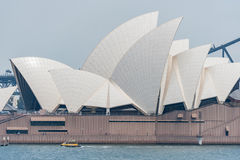 SYDNEY, AUSTRALIA - NOVEMBER 05, 2014: Sydney Opera House and Harbour Bridge. Australia. River Water Yellow Taxi Stock Image
