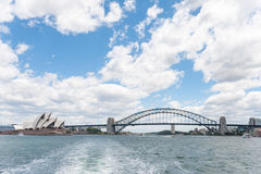 SYDNEY, AUSTRALIA - NOVEMBER 16, 2014: Sydney Opera House and Harbour Bridge. Photo from the Ferry Royalty Free Stock Image