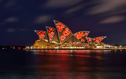SYDNEY, AUSTRALIA - November 11, 2016, Sydney Opera House illuminated with colourful poppies light design imagery for remembrance. Day royalty free stock images