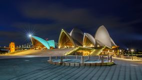 Sydney, australia - november 9, 2018: the sydney opera house at night. Sydney, australia - november 9, 2018: the sydney opera house and the sydney harbour bridge royalty free stock photography