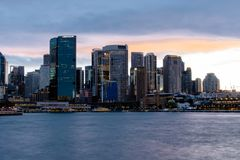 Sydney, Australia NSW 20180820 Circular Quay from the harbour at sunset royalty free stock photography