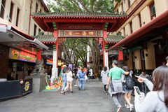SYDNEY, AUSTRALIA. - On October 10, 2017. - The gate of Sydney`s Chinatown. In the busy weekend royalty free stock image