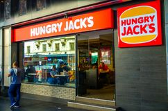 Hungry jack`s Australian master fast food franchise of Burger King Corporation, the image shows the store at Sydney Townhall. royalty free stock images