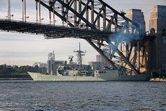 SYDNEY, AUSTRALIA - October 9th. 2013:  Warships at Australian Navy Centenary Celebrations. Royalty Free Stock Photography