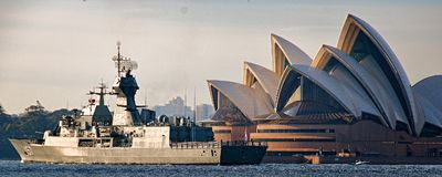 SYDNEY, AUSTRALIA - October 9th. 2013:  Warships at Australian Navy Centenary Celebrations. Stock Photography