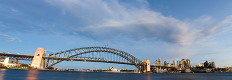 Sydney, Australia Panorama. Sydney Harbour Bridge taken shortly after sunset stock photos