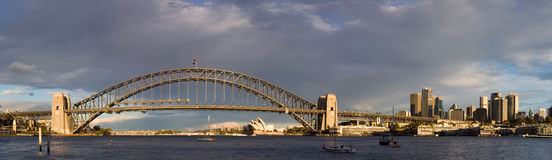 Sydney, Australia Panorama. Sydney Harbour Bridge taken shortly after sunset royalty free stock photo