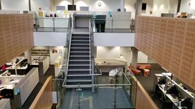 Vertical sweep video of the modern interior of the Tyree Energies Technology Building TETB