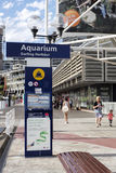 SYDNEY, AUSTRALIA - Sept 15, 2015 - Signage and pedestrian walk beside a tourist attraction, The SEA LIFE Sydney Aquarium at Darli Royalty Free Stock Photography