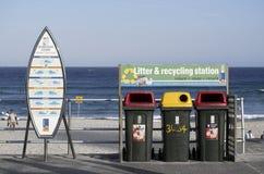 SYDNEY, AUSTRALIA - Sept 14, 2015 - Signboards and Recycle Bins at Bondi Beach. Stock Image