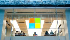 Logo of Microsoft store in the center point of Sydney. royalty free stock photos