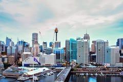 SYDNEY, AUSTRALIA - 10 settembre 2015: Scena di notte di Darling Harb Fotografia Stock