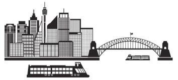 Sydney Australia Skyline Black och vit Illustrat Fotografering för Bildbyråer