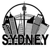 Sydney Australia Skyline Circle Black en Wit IL Royalty-vrije Stock Fotografie