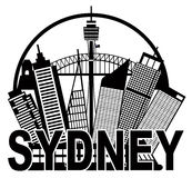 Sydney Australia Skyline Circle Black and White Il Royalty Free Stock Photography
